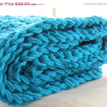 READY TO SHIP New Baby Blanket Afghan Peacock Blue Turquoise Crochet Keepsake Infant Unisex Double Thickness