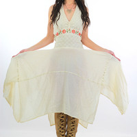 70s Crochet lace scarf dress Vintage white halter dress