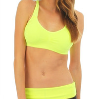 Yellow Criss Cross Racerback Sports Bra