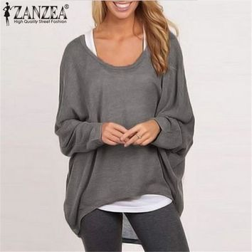 ZANZEA Fashion Blouse Women 2018 Spring Blusas Femininas Batwing Sleeve O-neck Long Sleeve Casaul Baggy Tops Plus Size Shirts