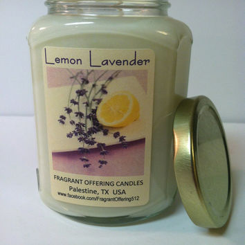 LEMON LAVENDER scented Soy Candle, 12.6 oz. glass oval hex jar with gold lid