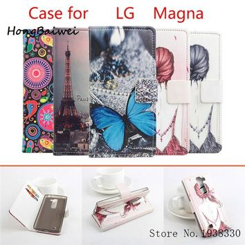 Hongbaiwei 5 Styles Fashion Painted PU Leather Flip Case Cover For LG Magna H502F H500F Case Cell Phone Shell Back Cover With Ca