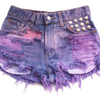 Studded ombre high waist shorts S by deathdiscolovesyou on Etsy