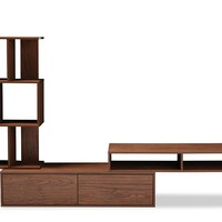 Baxton Studio Haversham Mid-century Retro Modern TV Stand Entertainment Center and Display Unit Set of 1