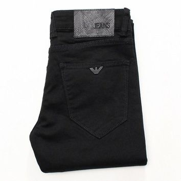 Armani new jeans black micro spring fall men's small-foot jeans long trousers