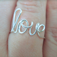 Love ring - Cursive love ring - Word ring - Script word ring - Ring - Love - Infinity - Bridesmaid gift - SALE