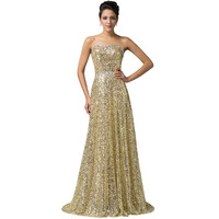 Luxury Gold Sequin Evening Dress 2015 Formal Party Dresses Sexy Strapless Lace up Prom Dress Gown Vestido De Festa Longo 6103