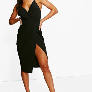 Diane Strappy Wrap Detail Midi Dress | Boohoo