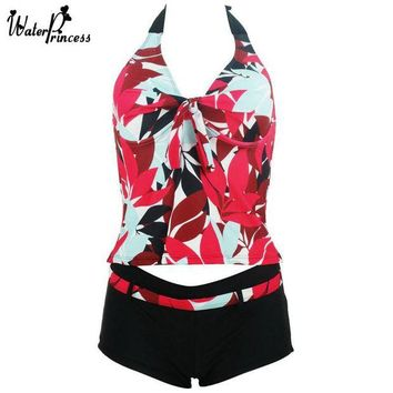 VONETDQ 2017 WATER PRINCESS Two Piece Swimwear Women Swimsuit Tankini Sexy Floral Halter Padded Bathing Suits Breast Beach Wear