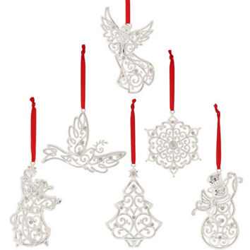 Lenox Set of 6 Silver Plated Sparkle & Scroll Christmas Ornaments