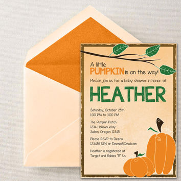 Instant Download - Pumpkin Autumn Fall Season Holiday DIY Printable Birthday Party Baby Shower Bridal Wedding Invitation Template
