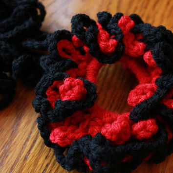 Hair Scrunchie 2-Pack - Red and Black Loopy Crochet Hair Scrunchie Accessory for All Ages, Handmade Accessory