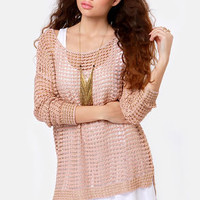 Best Served Gold Blush Pink Sweater