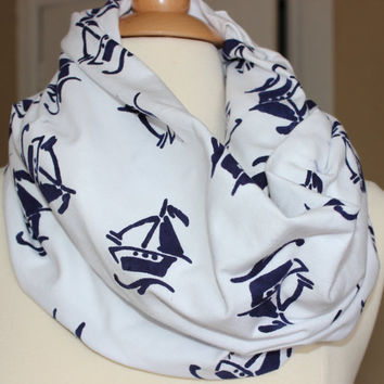 Nautical Theme Infinity Scarf -Navy Blue Boats - Handmade Circle Scarf - Cotton Lycra Knit Loop Scarf - Chunky