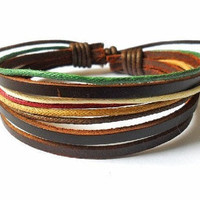 Adjustable leather bracelet  women bracelet girl bracelet man bracelet made of leather and hemp ropes wrist bracelet  SH-0422