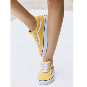 """Vans"" With Warm Casual Shoes Men and women classic black cloth shoes Yellow(white line)"