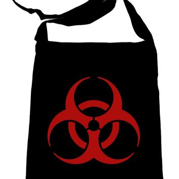 Red Bio-Hazard Radiation Crossbody Sling Bag Cyber Goth Zombie