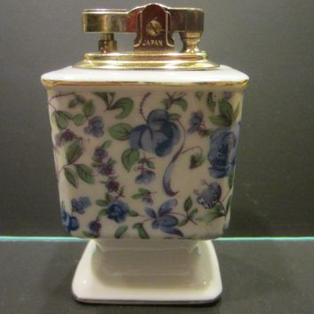 Porcelain Table Lighter Blue Flowers Brass Hardware Made in Japan