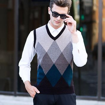 new fashion Male Pure wool Plaid Sleeveless Thick Sweater men Computer Knitted V-neck Vest, Sleeveless high quality size S-XXL