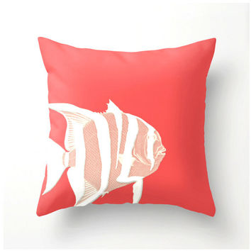 Coral and White Fish decorative throw pillow - beach nautical decor - home decor - Pantone color Cayenne home accessories - accent cushion