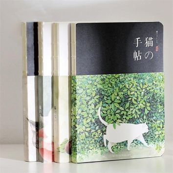 Blank Vintage Sketchbook Diary Drawing Painting 80 sheet Cute Cat Notebook Paper Sketchbook Office School Supplies Gift