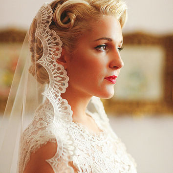 Wedding Veil - Handmade Chapel Lace Bridal Mantilla Ivory or White - made to order