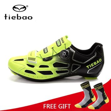 Tiebao Bicycle Cycling Shoes Breathable Men Women Road Bike Racing Athletic Shoes S2-Snap Tuning Knob Fastener zapatillas