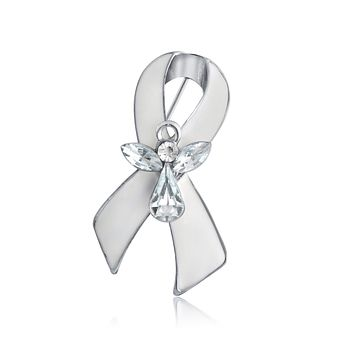 Lung Cancer Survivor Guardian Angel Crystal Pin Brooch Silver Plate