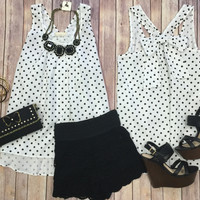 Polka Dot Chambray Bow Top: White