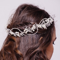 Bridal Pearl Hair vine gold and ivory Wedding Hair Comb silver and ivory Crystal & Pearl Hair vine Bridal Head Piece ivory and silver