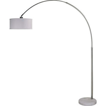 Modern 81 Inch Arch Floor Lamp With White Drum Shade & Marble Base