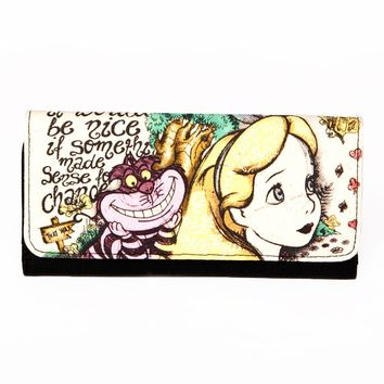 Alice and Chesire Cat Canvas Wallet