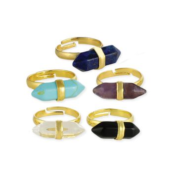 Gold Wrapped Stone Bar Ring