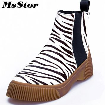 MsStor Round Toe Thick Bottom Women Boots Casual Fashion Leopard Print Ankle Boots Women Shoes Elegant Platform Boots For Woman