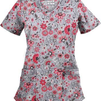 UA Flower Fair Silver Scallop Neck Print Scrub Top| Floral Scrubs