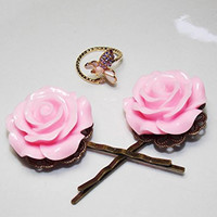 """Kate's Vintage"" Big Pink Rose Hair Pins and Bee Wrap Ring Gift Set, MMUTM Handmade"
