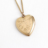 Vintage 10k Gold Filled Floral Heart Locket Necklace- 1940s WWII Era Sweetheart Etched Flower Jewelry