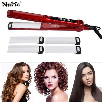 3 in 1 Hair Curler Rollers + Ceramic Corrugation Wave Plate Curling Iron StylingTools + Hair Straightener flat iron 220-240V LCD