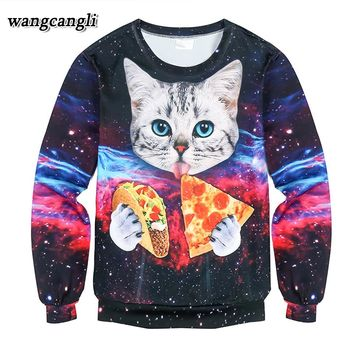 Harajuku style men/women's 3D graphic sweatshirts funny print hipster cat crewneck sweat shirts pullover hoodie men Long sleeve