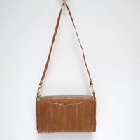 Tan Brown Eel Purse Clutch Handbag Convertable Strap made in Korea