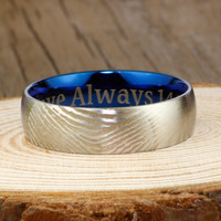 Your Actual Finger Print Rings, Handmade Men Dome RINGS - Two Tone Blue Titanium Rings 7mm