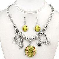*[N/LS]-Blinged Out Softball Charm Necklace Set