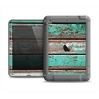 The Chipped Teal Paint On Wood Apple iPad Air LifeProof Fre Case Skin Set