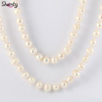 2M Natural Freshwater Pearl Necklace 100% real cultured genuine long pearl necklace pearl jewelry 10mm Irregular AA pearls