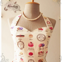 MACARON DRESS : Sweet lady cupcake bakery dress vintage inspired dress halter neck dress whimsical party dress summer dress cream- xs-xl