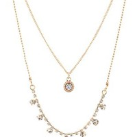 Gold Layered Rhinestone Necklace by Charlotte Russe