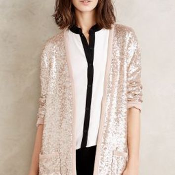 Plenty by Tracy Reese Sequin Shimmer Cardigan in Gold Size: