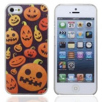 Fashion!!! Pumpkin Face Sense LED Flash Light Up Case Cover For Apple iphone 5 5G Color Changing Halloween Gift