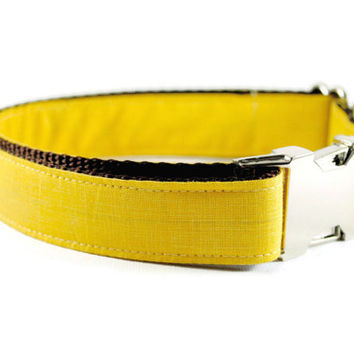Yellow Linen Dog Collar - Buttercup Soft Linen Dog Collar with Metal Buckle Wedding And Everyday Wear