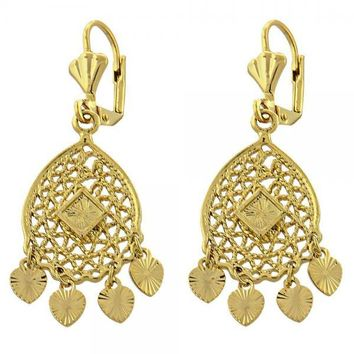 Gold Layered 02.118.0001 Chandelier Earring, Heart Design, Diamond Cutting Finish, Gold Tone